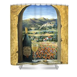 Wine And Poppies Shower Curtain by Marilyn Dunlap