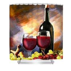 Wine Before And After Shower Curtain by Elaine Plesser