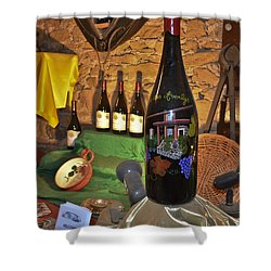 Wine Bottle On Display Shower Curtain