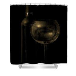 Wine Bottle Still Life Deep Red Shower Curtain by Edward Fielding