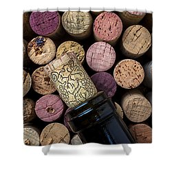 Wine Bottle With Corks Shower Curtain by Garry Gay