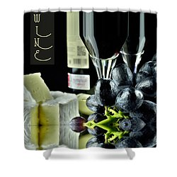 Wine Bottle With Glass Shower Curtain