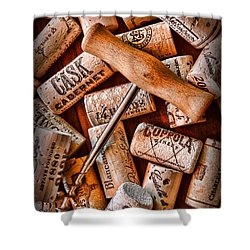 Wine Corks With Corkscrew Shower Curtain by Paul Ward