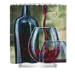 Wine For Two Shower Curtain by Lisa Owen-Lynch