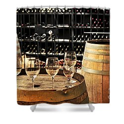 Wine Glasses And Barrels Shower Curtain by Elena Elisseeva