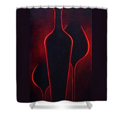 Shower Curtain featuring the painting Wine Glow by Sandi Whetzel