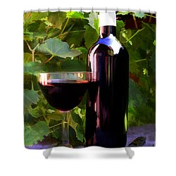 Wine In The Sunset Shower Curtain by Elaine Plesser