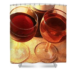 Wine Toast In Watercolor Shower Curtain by Elaine Plesser