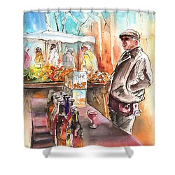 Wine Vendor In A Provence Market Shower Curtain by Miki De Goodaboom