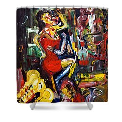 Wine Woman And Music Shower Curtain by James Lavott