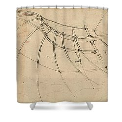 Wing Covered With Cloth And Moved By Means Of Crank Winch Below Right Detail Of Winch Shower Curtain by Leonardo Da Vinci