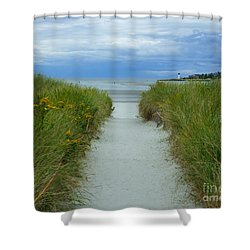Wingaersheek Beach Path And Annisquam Lighthouse Shower Curtain by Kristen Fox