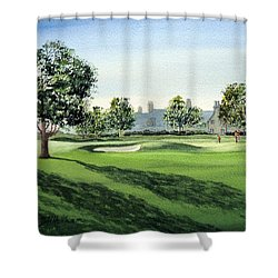 Shower Curtain featuring the painting Winged Foot West Golf Course 18th Hole by Bill Holkham