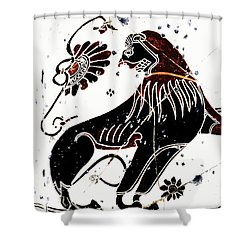 Winged Lion - Detail No. 1 Shower Curtain by Steve Bogdanoff