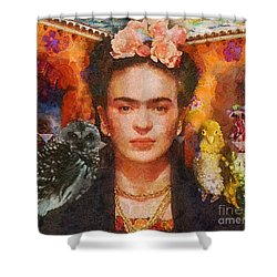 Wings Of Frida Shower Curtain by Mo T