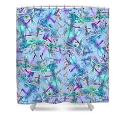 Wings On Blue Duvet Cover Shower Curtain