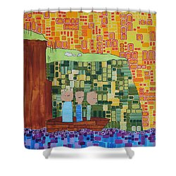 Wink Blink Nod II Shower Curtain by Donna Howard