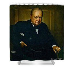 Shower Curtain featuring the painting Winston Churchill by Adam Asar