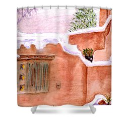 Shower Curtain featuring the painting Winter Adobe by Paula Ayers