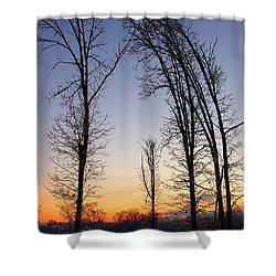 Winter At Dusk Shower Curtain by Randy Pollard