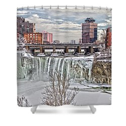 Winter At High Falls Shower Curtain by William Norton