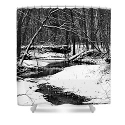 Shower Curtain featuring the photograph Winter At Pedelo Black And White by Deena Stoddard