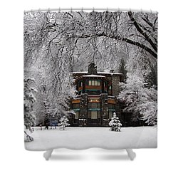 Winter At The Ahwahnee In Yosemite Shower Curtain