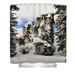 Winter At The Stony Summit Shower Curtain by Aged Pixel