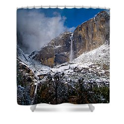 Winter At Yosemite Falls Shower Curtain by Bill Gallagher