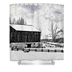 Winter Barn Impasto Version Shower Curtain by Steve Harrington