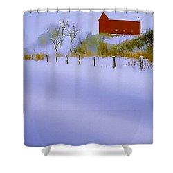 Winter Barn Shower Curtain by Ron Jones