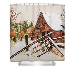 Winter - Barn - Snow In Nevada Shower Curtain