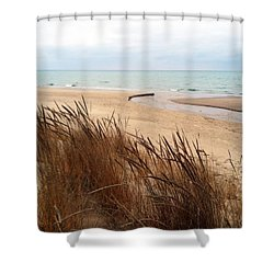 Winter Beach At Pier Cove Shower Curtain