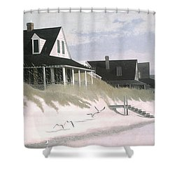 Winter Beach Shower Curtain by Blue Sky