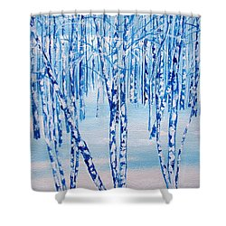 Shower Curtain featuring the painting Winter Birch by Ellen Canfield