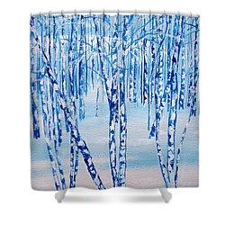 Winter Birch Shower Curtain by Ellen Canfield