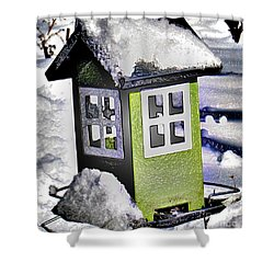 Shower Curtain featuring the photograph Winter Birdfeeder by Nina Silver