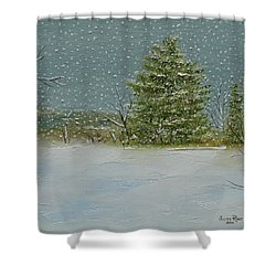 Winter Blanket Shower Curtain by Judith Rhue
