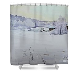 Winter Blanket Shower Curtain by Martin Howard