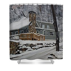 Shower Curtain featuring the painting Winter - Cabin - In The Woods by Jan Dappen