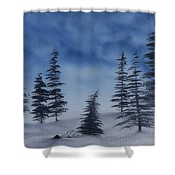 Shower Curtain featuring the painting Winter Chill by Jennifer Muller