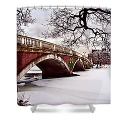 Winter Christmas On The Charles River Boston Shower Curtain by Elaine Plesser