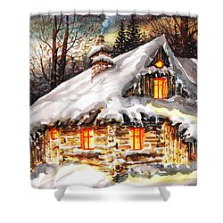 Winter Cottage Shower Curtain