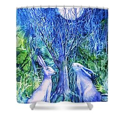 Winter Descends As Two Hares Contemplate An Owl By Moonlight Shower Curtain