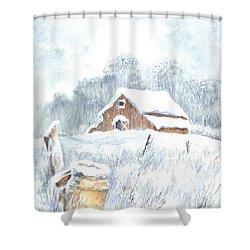Winter Down On The Farm Shower Curtain by Carol Wisniewski