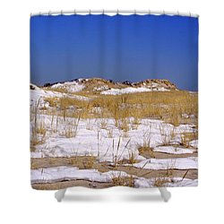Shower Curtain featuring the photograph Winter Dunes Fire Island by Karen Silvestri