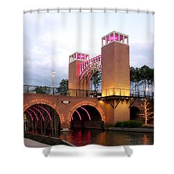 Winter Evening Lights On The Woodlands Waterway Shower Curtain by Connie Fox