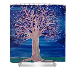 Winter Fantasy Tree Shower Curtain by First Star Art