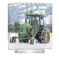 Winter Feeding Shower Curtain by Diane Bohna