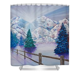 Shower Curtain featuring the painting Winter Glow by Melinda Cummings